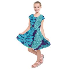 Tropical Greens Leaves Banana Kids  Short Sleeve Dress
