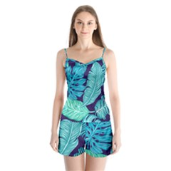 Tropical Greens Leaves Banana Satin Pajamas Set