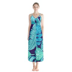 Tropical Greens Leaves Banana Button Up Chiffon Maxi Dress by HermanTelo