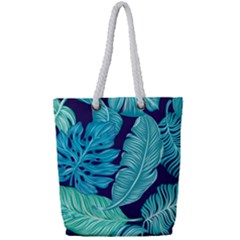 Tropical Greens Leaves Banana Full Print Rope Handle Tote (small)
