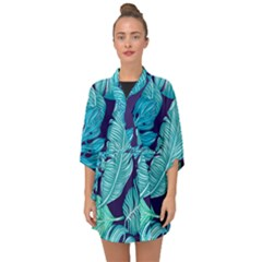 Tropical Greens Leaves Banana Half Sleeve Chiffon Kimono by HermanTelo
