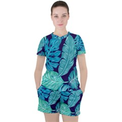 Tropical Greens Leaves Banana Women s Tee And Shorts Set by HermanTelo