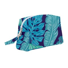 Tropical Greens Leaves Banana Wristlet Pouch Bag (medium) by HermanTelo