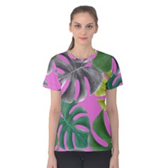 Tropical Greens Pink Leaf Women s Cotton Tee