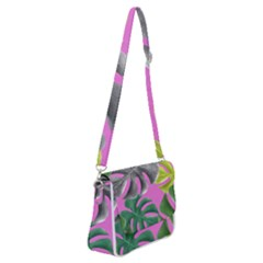 Tropical Greens Pink Leaf Shoulder Bag With Back Zipper