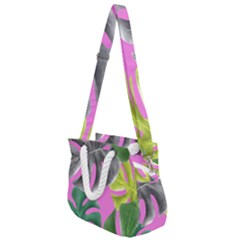 Tropical Greens Pink Leaf Rope Handles Shoulder Strap Bag by HermanTelo