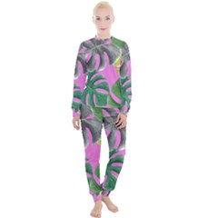 Tropical Greens Pink Leaf Women s Lounge Set by HermanTelo