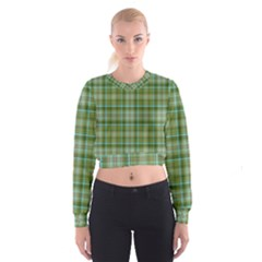 Vintage Green Plaid Cropped Sweatshirt by HermanTelo