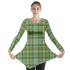 Vintage Green Plaid Long Sleeve Tunic