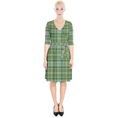Vintage Green Plaid Wrap Up Cocktail Dress