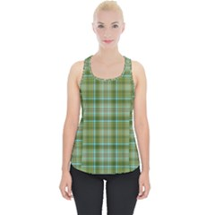 Vintage Green Plaid Piece Up Tank Top