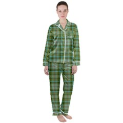 Vintage Green Plaid Satin Long Sleeve Pyjamas Set by HermanTelo
