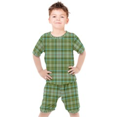 Vintage Green Plaid Kids  Tee And Shorts Set by HermanTelo