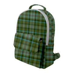 Vintage Green Plaid Flap Pocket Backpack (large)