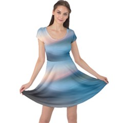 Wave Background Cap Sleeve Dress