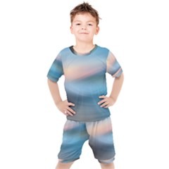 Wave Background Kids  Tee And Shorts Set by HermanTelo