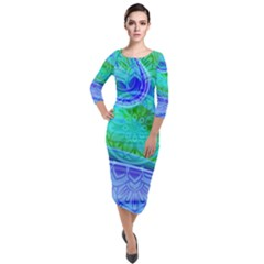 Modern Mandala Design Quarter Sleeve Midi Velour Bodycon Dress by tarastyle