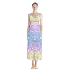Modern Mandala Design Button Up Chiffon Maxi Dress by tarastyle