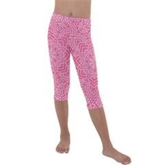 Modern Mandala Design Kids  Lightweight Velour Capri Leggings  by tarastyle