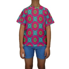 Modern Mandala Design Kids  Short Sleeve Swimwear by tarastyle