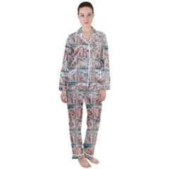 Asian Illustration Posters Collage Satin Long Sleeve Pyjamas Set by dflcprintsclothing