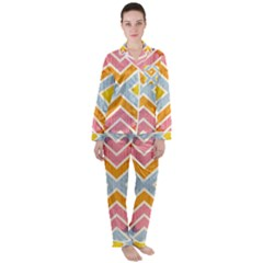 Line Pattern Cross Print Repeat Satin Long Sleeve Pyjamas Set