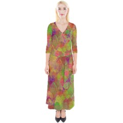 Easter Egg Colorful Texture Quarter Sleeve Wrap Maxi Dress