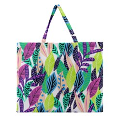 Leaves Rainbow Pattern Nature Zipper Large Tote Bag