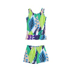 Leaves Rainbow Pattern Nature Kids  Boyleg Swimsuit