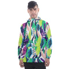 Leaves Rainbow Pattern Nature Men s Front Pocket Pullover Windbreaker
