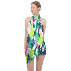 Leaves Rainbow Pattern Nature Halter Asymmetric Satin Top by Alisyart