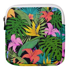 Tropical Greens Leaves Mini Square Pouch