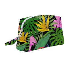 Tropical Greens Leaves Wristlet Pouch Bag (medium) by Alisyart