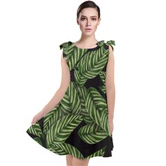 Leaves Painting Black Background Tie Up Tunic Dress