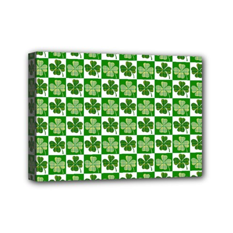 Clover Shamrock St Patricks Day Mini Canvas 7  X 5  (stretched)