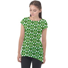 Clover Shamrock St Patricks Day Cap Sleeve High Low Top by AnjaniArt