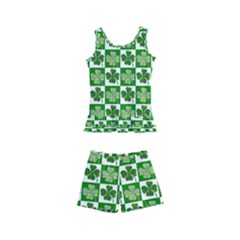 Clover Shamrock St Patricks Day Kids  Boyleg Swimsuit