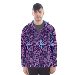 Stamping Pattern Leaves Purple Men s Hooded Windbreaker by AnjaniArt