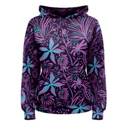 Stamping Pattern Leaves Purple Women s Pullover Hoodie by AnjaniArt