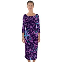 Stamping Pattern Leaves Purple Quarter Sleeve Midi Bodycon Dress