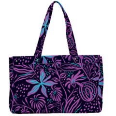 Stamping Pattern Leaves Purple Canvas Work Bag