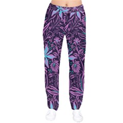 Stamping Pattern Leaves Purple Velvet Drawstring Pants by AnjaniArt