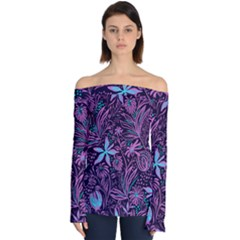 Stamping Pattern Leaves Purple Off Shoulder Long Sleeve Top by AnjaniArt