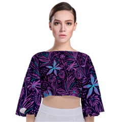 Stamping Pattern Leaves Purple Tie Back Butterfly Sleeve Chiffon Top