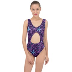 Stamping Pattern Leaves Purple Center Cut Out Swimsuit
