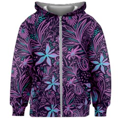 Stamping Pattern Leaves Purple Kids  Zipper Hoodie Without Drawstring by AnjaniArt