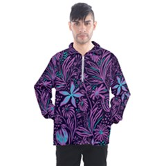 Stamping Pattern Leaves Purple Men s Half Zip Pullover by AnjaniArt