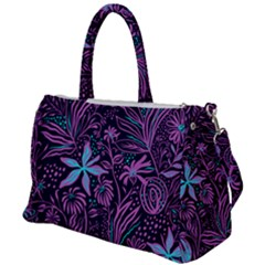 Stamping Pattern Leaves Purple Duffel Travel Bag