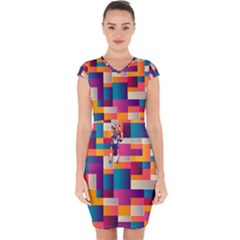 Abstract Geometry Blocks Capsleeve Drawstring Dress