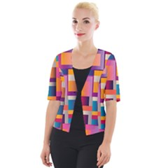 Abstract Background Geometry Blocks Cropped Button Cardigan